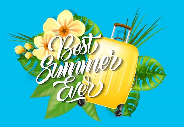 Najlepsze lato na literowanie. kreatywny napis z tropikalnymi liśćmi