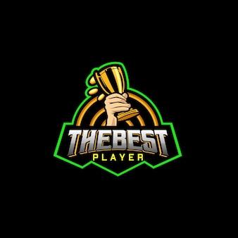Najlepsze logo sportowe gracza z ręką trzymającą trofeum i monetą wokół niego