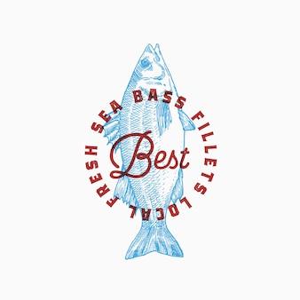 Najlepsze lokalne filety z okonia morskiego. streszczenie znak, symbol lub szablon logo.