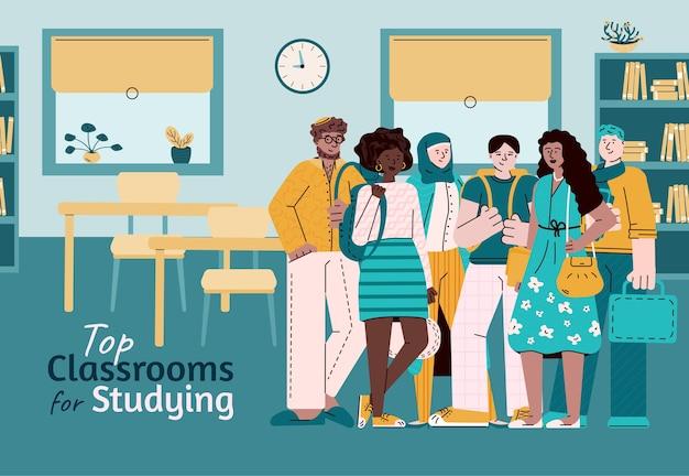 Najlepsze sale do nauki - zróżnicowana grupa studentów stojąca w klasie uniwersytetu