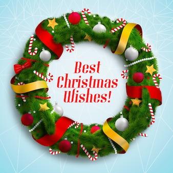Najlepsze życzenia świąteczne wieniec z dekorowanymi wakacyjnymi wieńcami płaskich ilustracji wektorowych