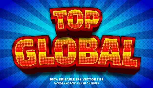 Najlepszy globalny efekt edytowalnego stylu tekstu 3d