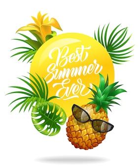 Najlepszy letni kolorowy plakat z tropikalnymi liśćmi, kwiatami, ananasem i okularami przeciwsłonecznymi