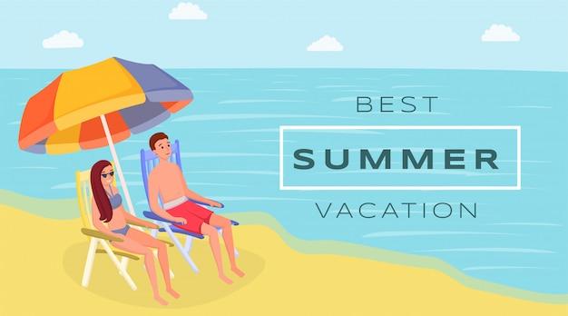 Najlepszy letni kurort płaski transparent wektor. małżonkowie siedzą na oceanie, wybrzeże pod parasolem plażowym