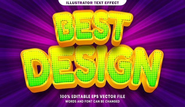 Najlepszy projekt 3d efekt edytowalnego stylu tekstu