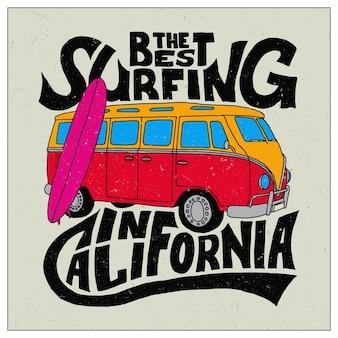 Najlepszy projekt surfingowy do nadruku na koszulce