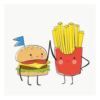 Najlepszy przyjaciel bff, burger i frytki