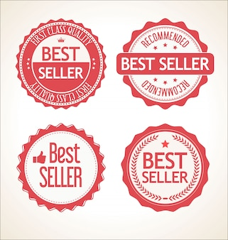 Najlepszy sprzedawca retro vintage odznaka i kolekcja etykiet