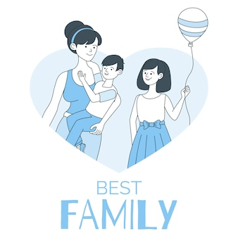 Najlepszy szablon rodziny ulotki z miejsca na tekst. macierzyństwo i dzieciństwo, rodzicielstwo, niania.