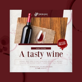 Najlepszy szablon wydruku ulotki kwadratowej z degustacją wina