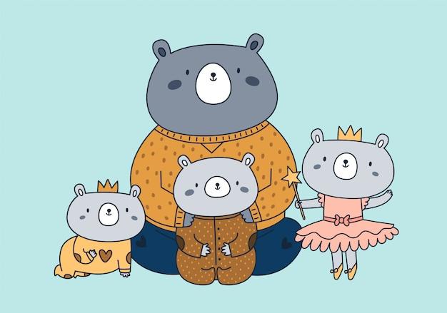 Najlepszy tata w historii. ojciec i dzieci. portret cute rodziny niedźwiedzi