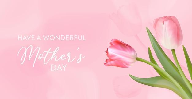 Najlepszy transparent szablon dzień matki. ilustracja wektorowa kwiatowy. wiosenne kwiaty tulipanów pozdrowienie projekt. bukiet wakacje zaproszenie, ulotka, okładka, plakat. dzień kobiet, 8 marca karta dnia międzynarodowego