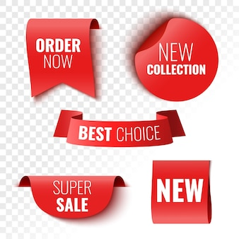 Najlepszy wybór zamów teraz nowa kolekcja i banery super wyprzedaży czerwone wstążki tagi i naklejki ilustracja wektorowa