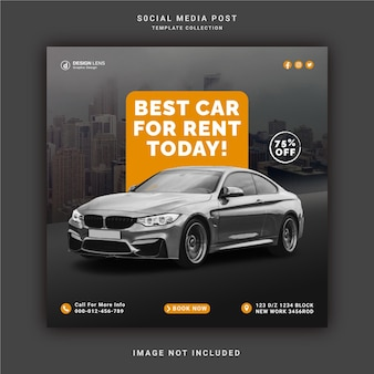 Najlepszy wynajem samochodów na dziś instagram story banner szablon postu w mediach społecznościowych