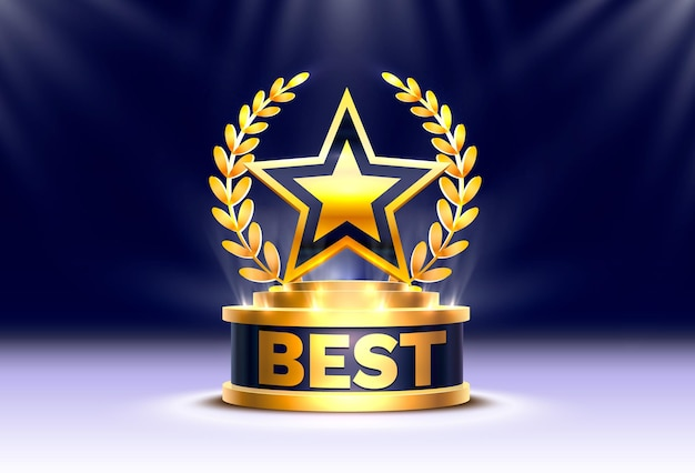 Najlepszy zdobywca pucharu złotej gwiazdy, scena podium z ceremonią wręczenia nagród na tle nocy