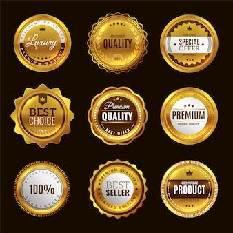 Najlepszy złoty znak certyfikacji. złote medale z emblematem premium award i okrągłe etykiety pieczęć elegancki zestaw odznak z gwarancją jakości