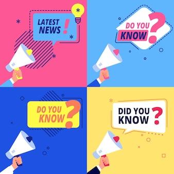 Najnowsze wiadomości, czy znasz banery. ulotki promocyjne i reklamowe z ręką z zestawem wektorów megafon. znak informacyjny, na białym tle baner z ilustracją wiadomości