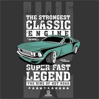 Najsilniejszy klasyczny silnik, ilustracje wektorowe samochodu