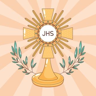 Najświętszy sakrament z dekorowanymi liśćmi. ilustracja kreskówka corpus christi gospodarz katolicki