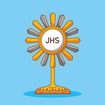Najświętszy sakrament z jezusem eucharystią, ilustracja kreskówka