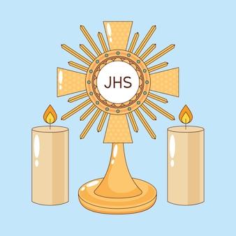 Najświętszy sakrament ze świecami kreskówka. ilustracja kreskówka corpus christi