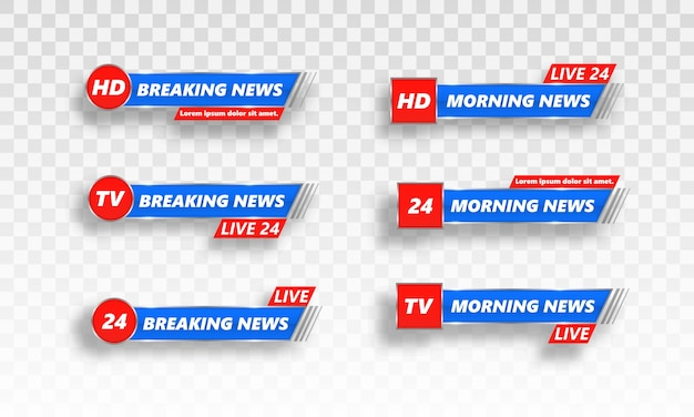 Najświeższe wiadomości, full hd, ultra hd, dramatyzacja, nagrywanie na żywo. dolny nagłówek. wektor