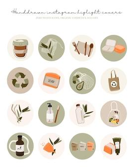 Najważniejsze informacje na instagramie obejmują zestaw ikon zero waste