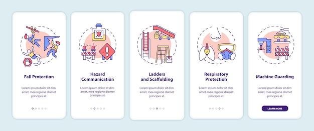 Najważniejsze naruszenia bezpieczeństwa w miejscu pracy na ekranie strony aplikacji mobilnej z koncepcjami