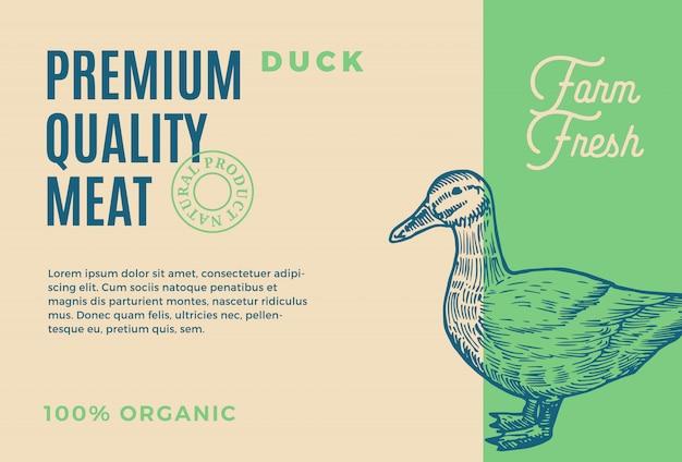 Najwyższej jakości mięso z kaczki. streszczenie opakowania lub etykiety mięsa. nowoczesna typografia i ręcznie rysowane kaczka sylwetka szkic tło układ