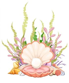 Najwyższej jakości piękna naturalna otwarta perłowa muszla z bliska realistyczna ilustracja pojedynczego cennego obiektu.