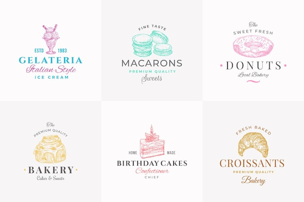 Najwyższej jakości słodycze abstrakcyjne znaki symbole lub szablon logo