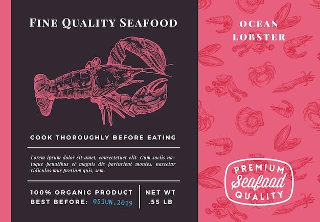 Najwyższej jakości szablon opakowania homara z owocami morza