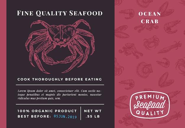 Najwyższej jakości szablon opakowania kraba z owocami morza