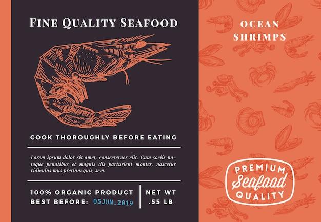 Najwyższej jakości szablon opakowania krewetki z owoców morza
