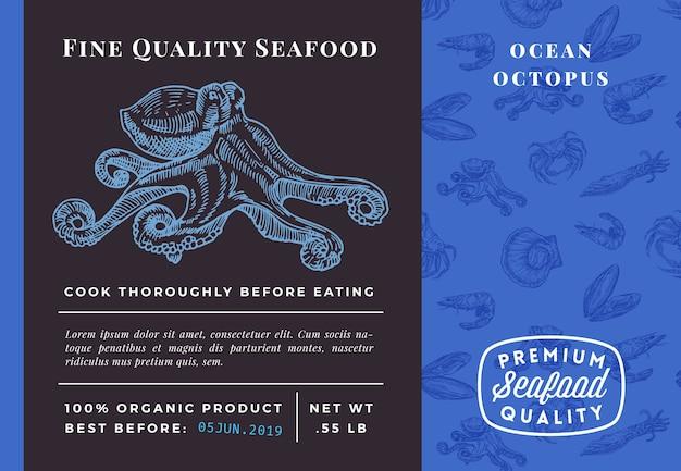 Najwyższej jakości szablon opakowania ośmiornicy owoców morza