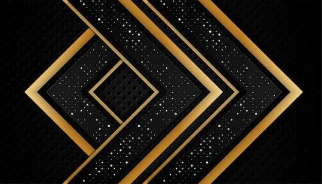 Nakładają się na kształt abstrakcyjne złoto czarne ramki układ technologii projektowania z błyskotkami i efektem świetlnym