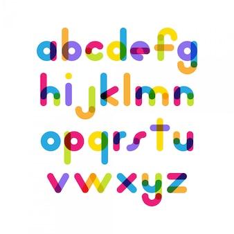 Nakładające się kolorowe zaokrąglone płaskie czcionki. wektor liter alfabetu