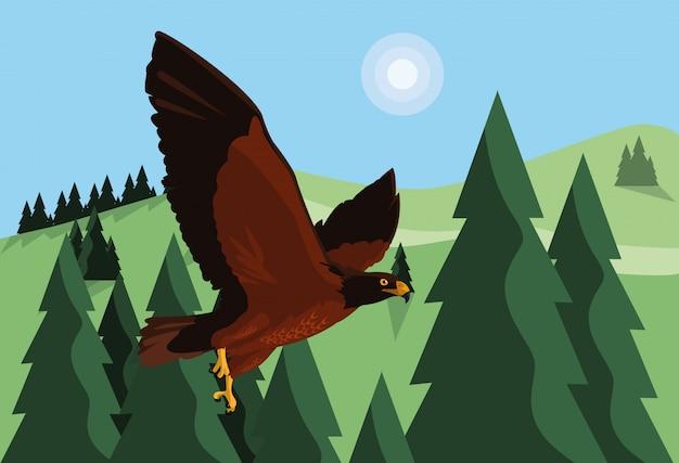 Nakładający jastrząb ptasi latanie w krajobrazie