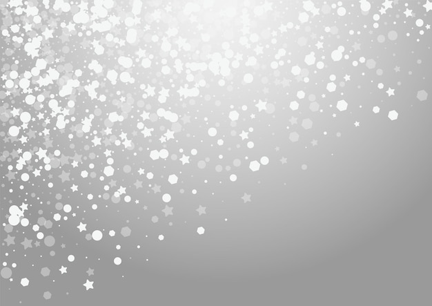 Nakładka śniegu wektor szary tło. srebrna karta spadających opadów śniegu. ilustracja blask konfetti. magiczny wzór płatka.