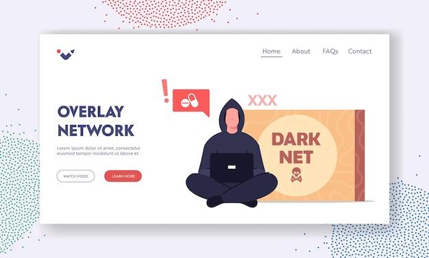 Nakładka szablonu strony docelowej sieci ciemnej sieci. przestępca haker w czarnej bluzie z kapturem siedzący z laptopem w dłoniach szukający informacji o ukrytych narkotykach w darknet. ilustracja kreskówka wektor
