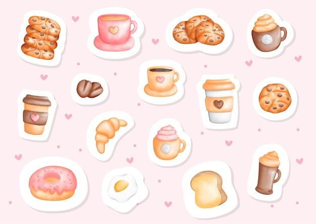 Naklejka akwarela kawa i śniadanie