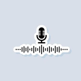 Naklejka asystenta głosowego. osobisty asystent ai i ikona rozpoznawania głosu. mikrofon z falą dźwiękową. wektor na na białym tle. eps 10.