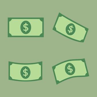 Naklejka banknot dolara, pieniądze wektor finanse clipart w płaskiej konstrukcji