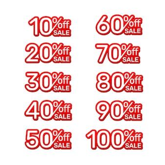 Naklejka czerwony sztandar, kolekcja wyłączona z procentem rabatu na akcje. ilustracja wektorowa