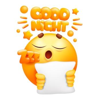 Naklejka dobranoc w sieci. żółta postać z kreskówki emoji z poduszką. twarz uśmiechu emotikon.