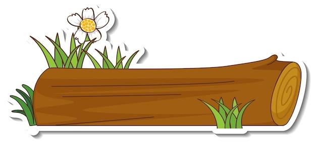 Naklejka drewniana kłoda z trawą i kwiatem
