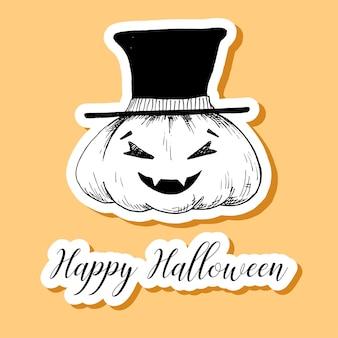 Naklejka dynia halloween. happy halloween ilustracji.