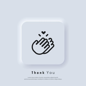 Naklejka dziękuję. klaskanie ręce ikona. klaskać, ikona oklaski. wektor. ikona interfejsu użytkownika. biały przycisk sieciowy interfejsu użytkownika neumorphic ui ux.