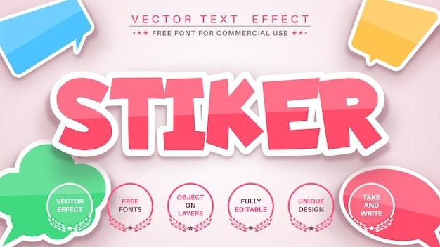 Naklejka edytuj styl czcionki efektu tekstu