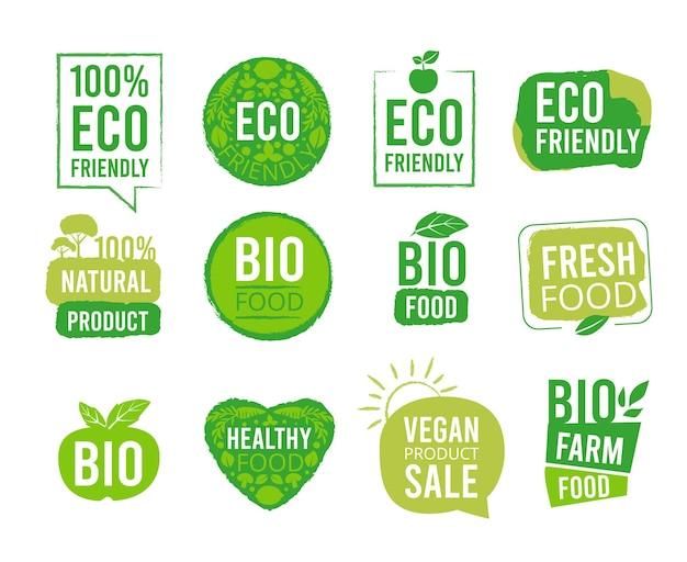 Naklejka ekologiczna. wegetariańskie etykiety naturalnej zdrowej żywności tagi dla opakowań rynkowych świeża ekologia znak produkty wektorowe odznaki. odznaka rynkowa świeża, ilustracja znaku bio pieczęć